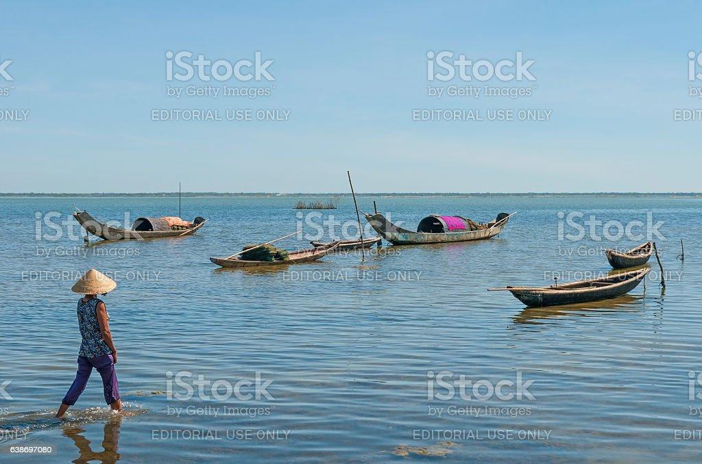 Lagoon lady stock photo