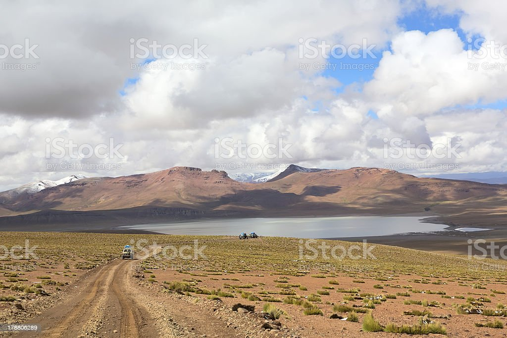 Lagoon Morejon in altiplano of the andes, Bolivia royalty-free stock photo