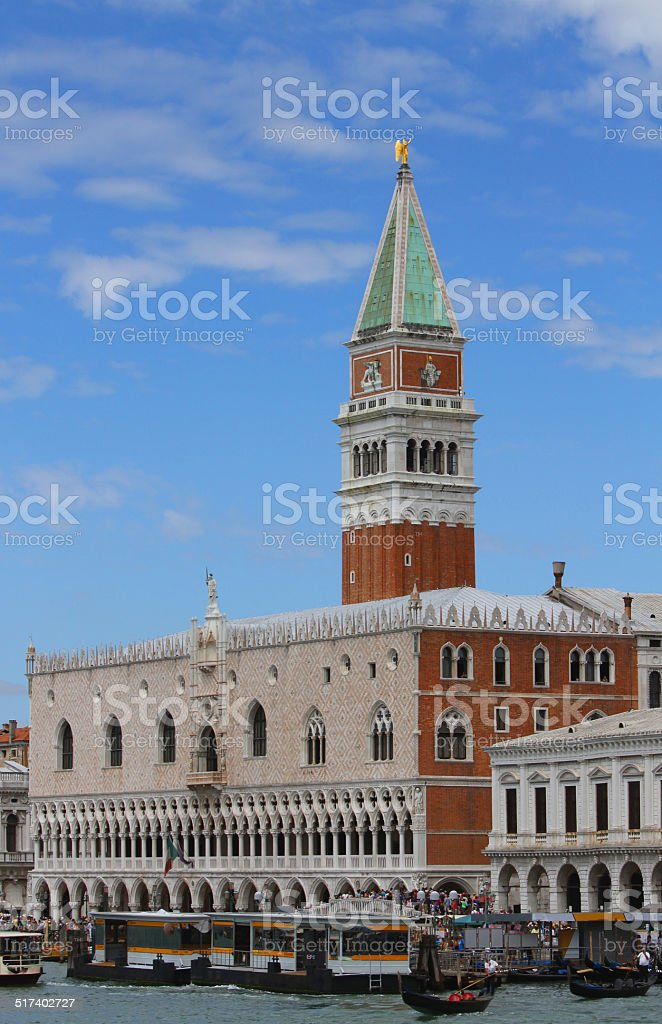 lagoon of Venice with the bell tower of Saint Mark stock photo