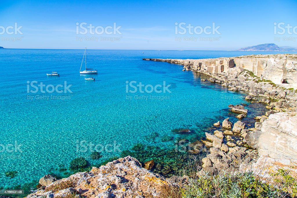 Lagoon on Favignana island stock photo
