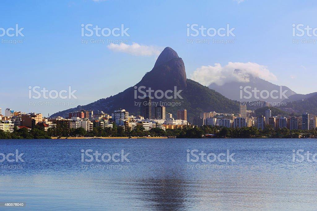 Lagoon Rodrigo de Freitas (Lagoa), Rio de Janeiro, Brazil stock photo