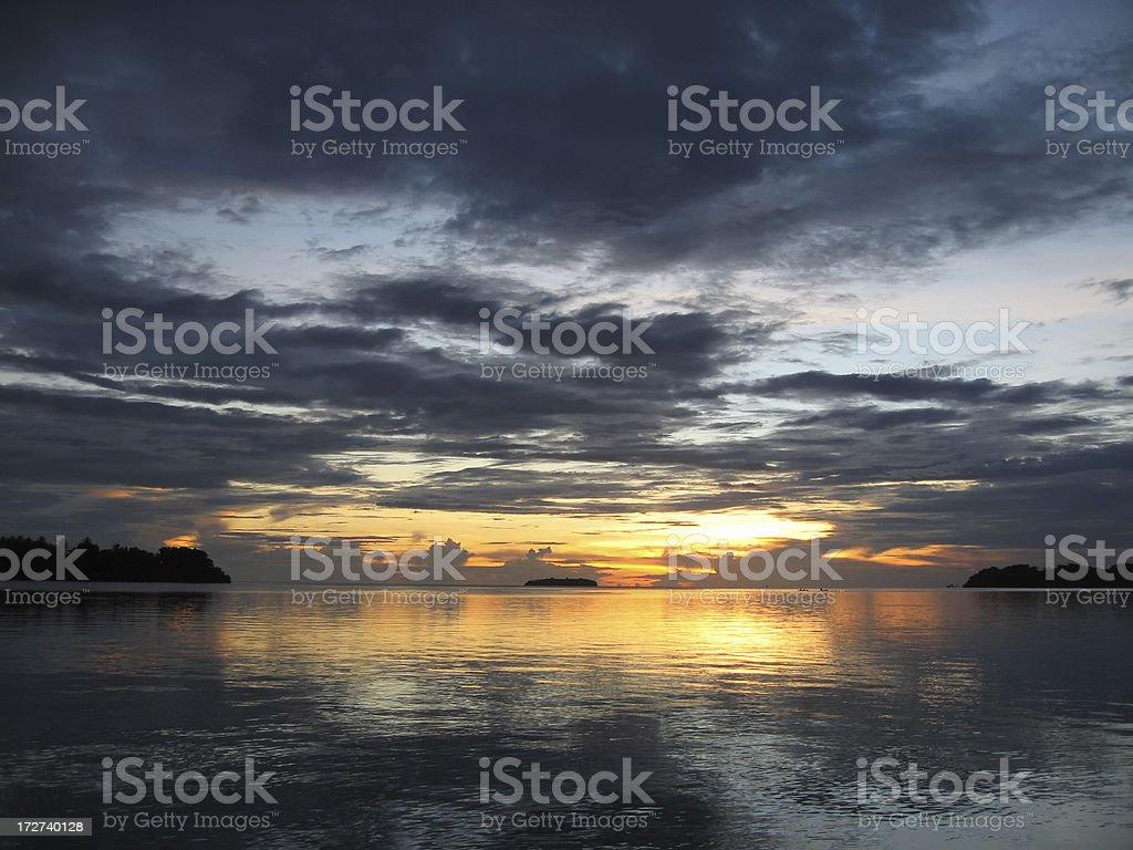 Lagoon Sunset: Solomon Islands royalty-free stock photo