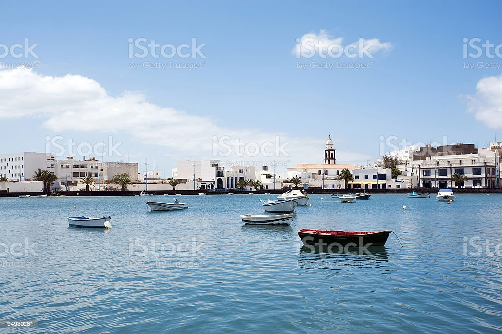 lagoon with boats in the center of Arrecife, Lanzarote stock photo