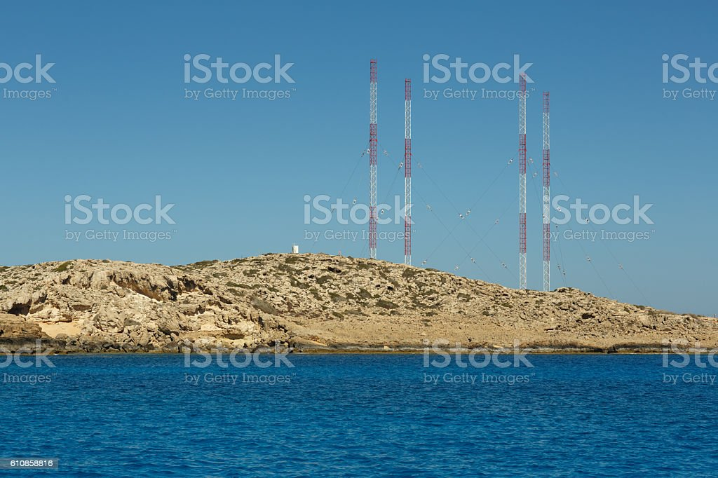 Lagoon with cyan water in Kavo Greco area on Cyprus stock photo