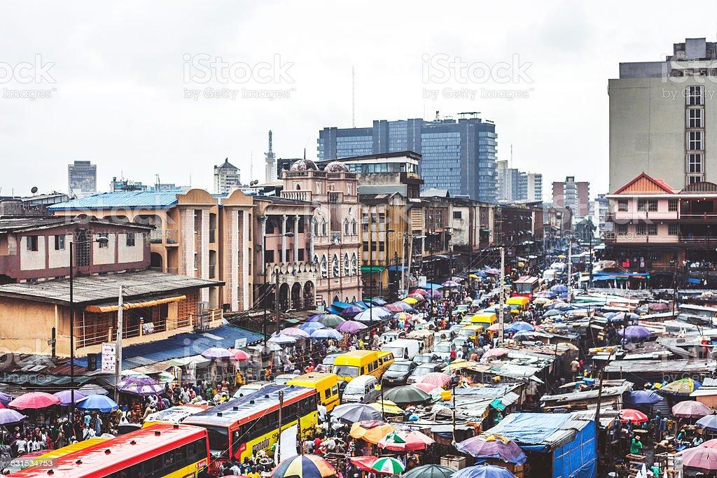 Lagos downtown market streets. stock photo
