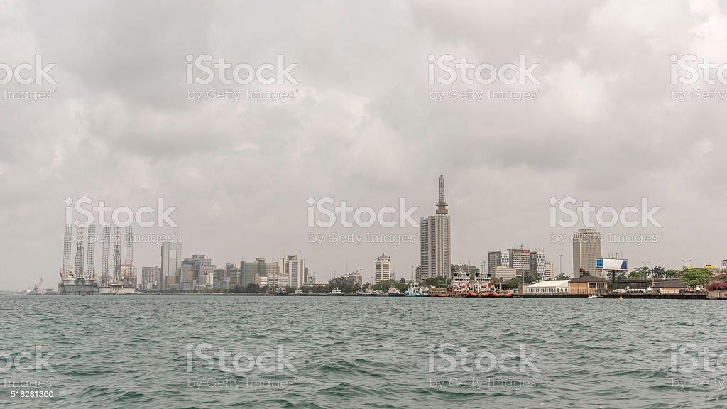 Lagos, Nigeria, skyline from the sea stock photo