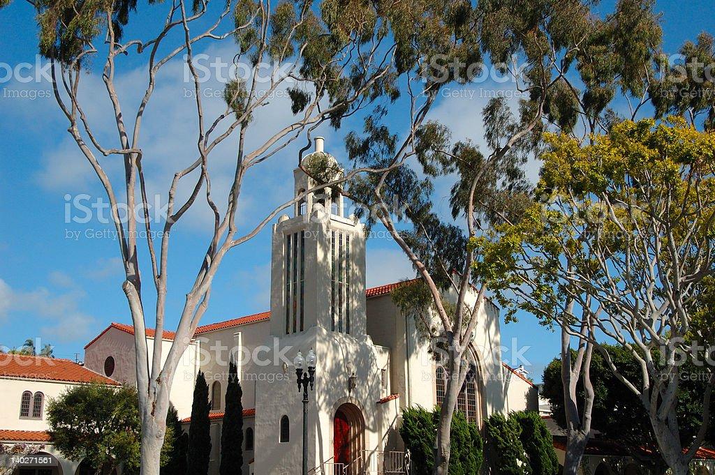 Laguna Beach church and trees royalty-free stock photo