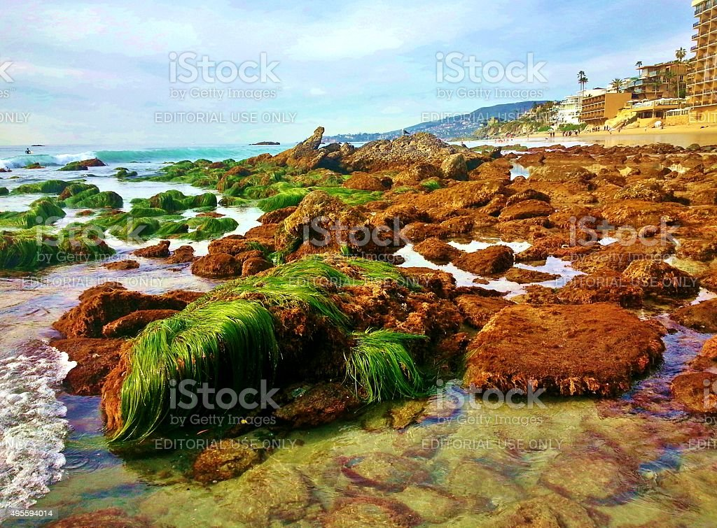 Laguna Beach Rocks and Hotels stock photo