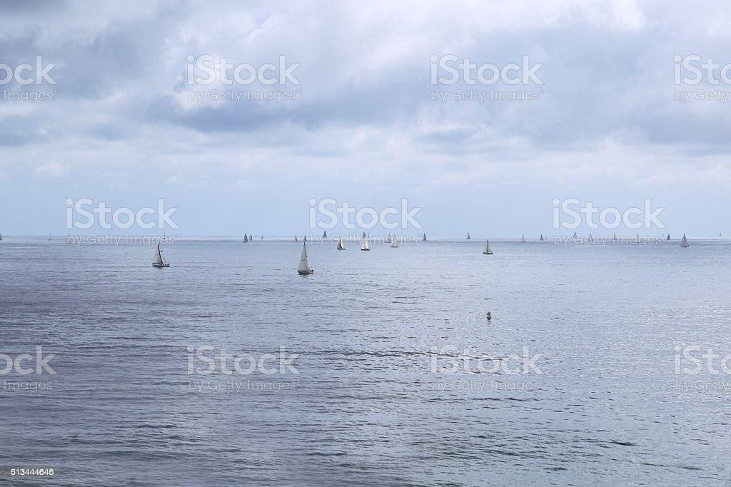 Laguna Beach Sail Boats stock photo
