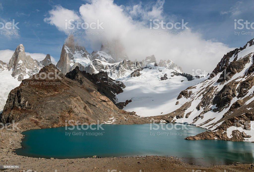 Laguna De los Tres with Mount Fitz Roy stock photo