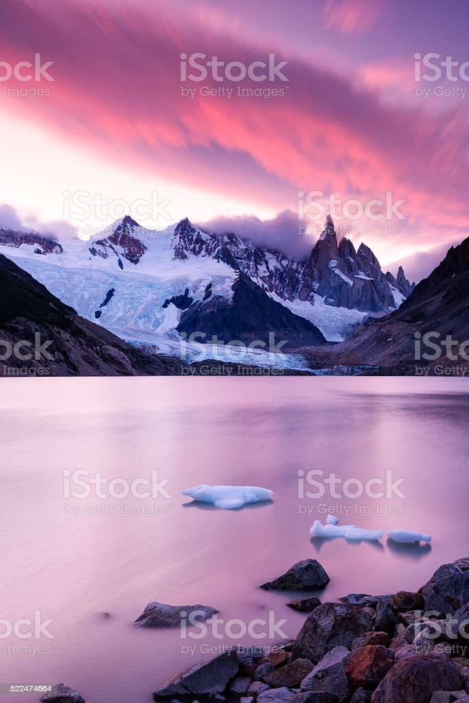 Laguna Torre and Cerro Torre at Sunset, Patagonia, Argentina stock photo