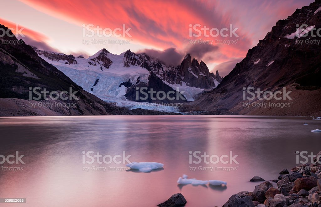 Laguna Torre and Cerro Torre at Sunset, Patagonia, Argentina stock photo