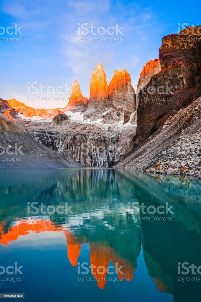 Laguna torres with the towers at sunset, Torres del Paine National Park, Patagonia, Chile stock photo