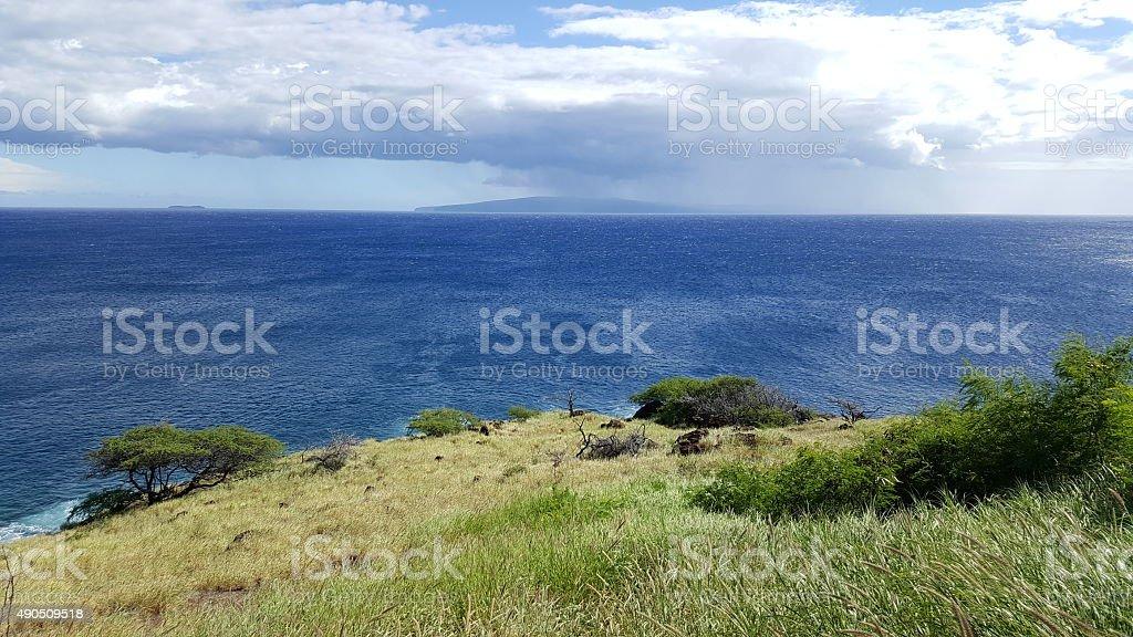 Lahaina grasslands and coast stock photo