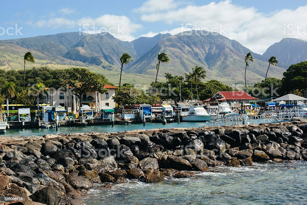 Lahaina Harbor in Maui Hawaii stock photo