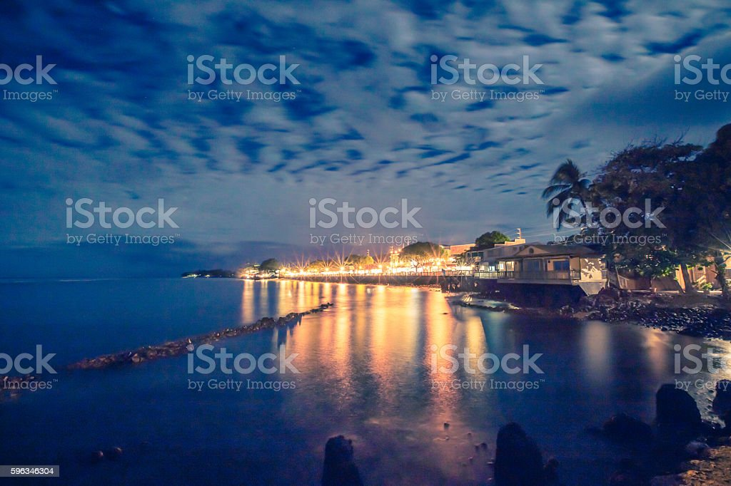 Lahaina, Maui, Hawaii at night stock photo