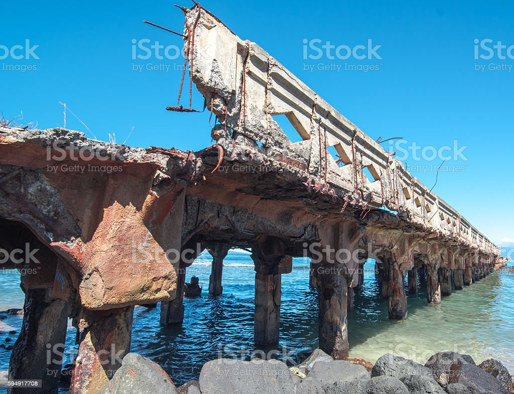 Lahaina's Mala Wharf Ruins stock photo