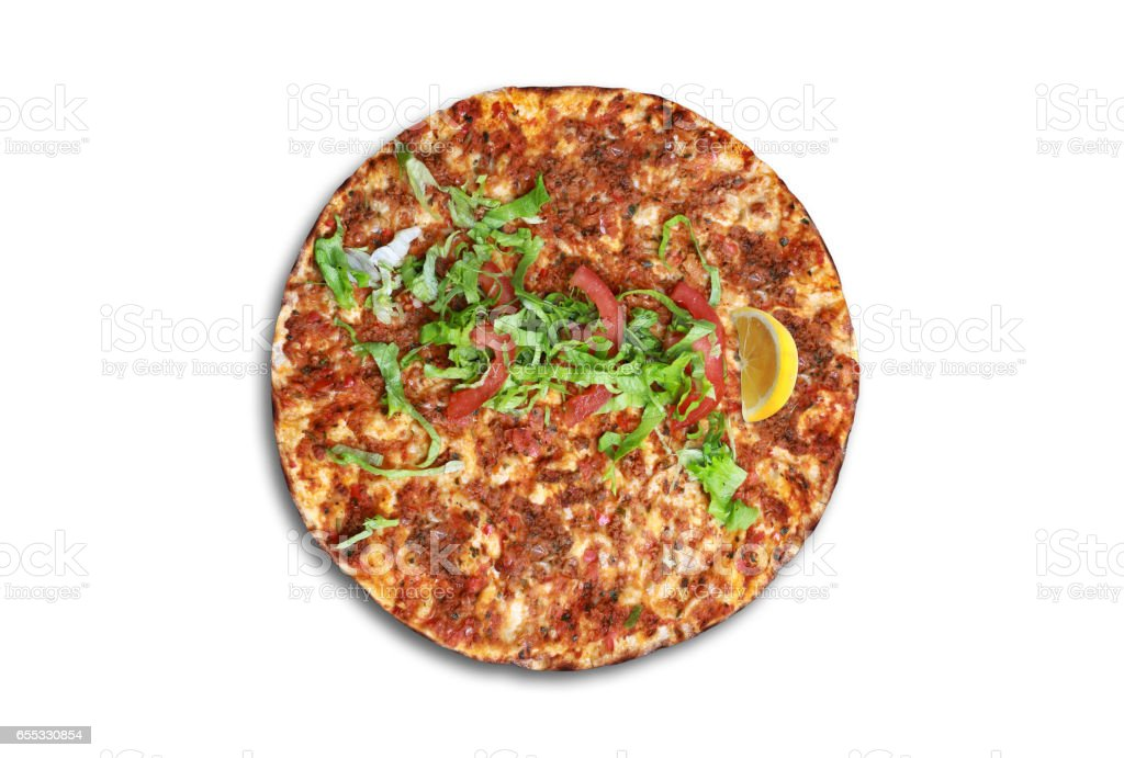 Lahmacun is a round, thin piece of dough topped with minced meat. stock photo