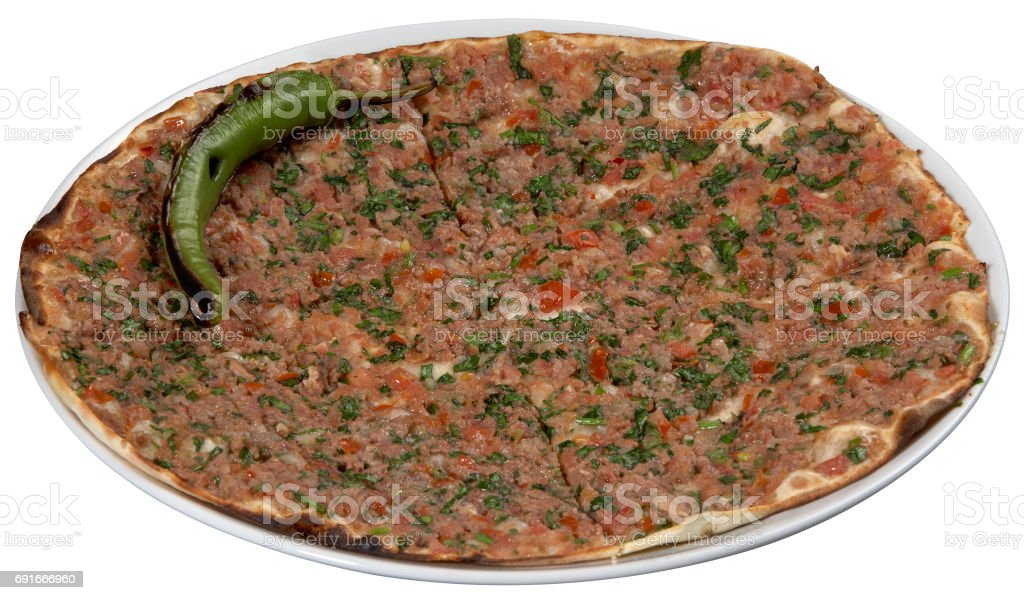 lahmacun, turkish minced meat pizza isolated,Delicious Turkish Pizza. ( Lahmacun or Etli ekmek stock photo