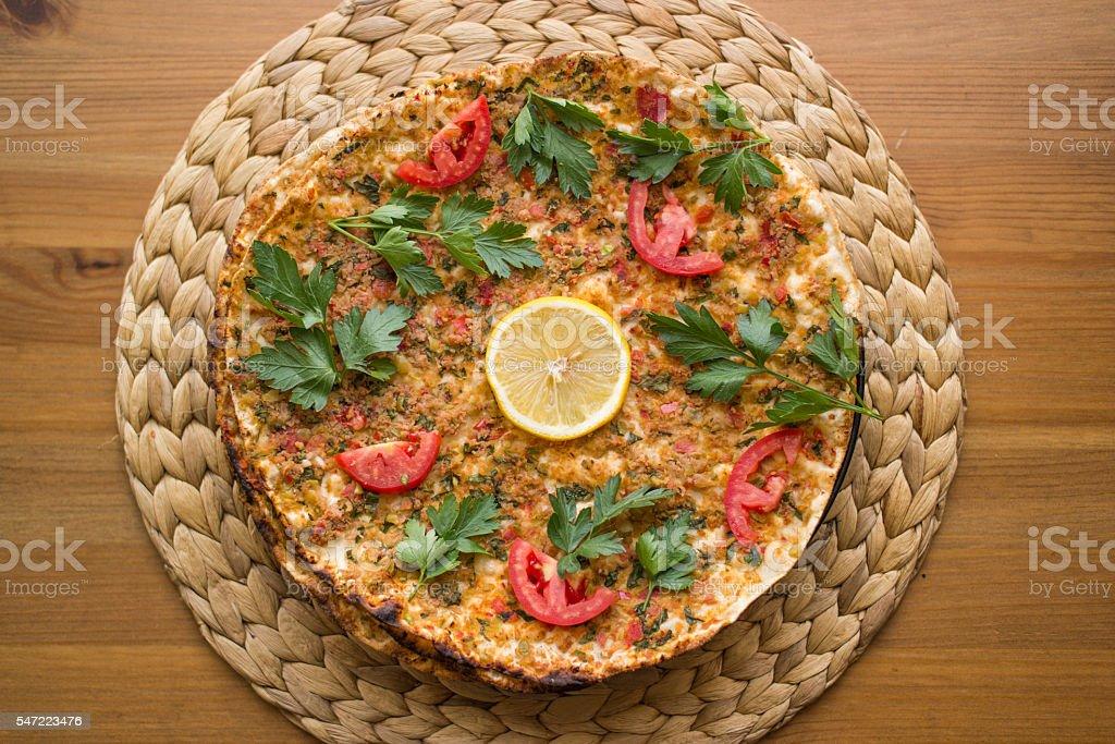 lahmacun. Turkish pizza stock photo