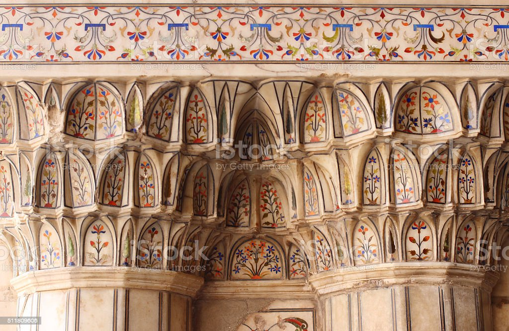 Lahore Fort Marble Collumns Detail stock photo