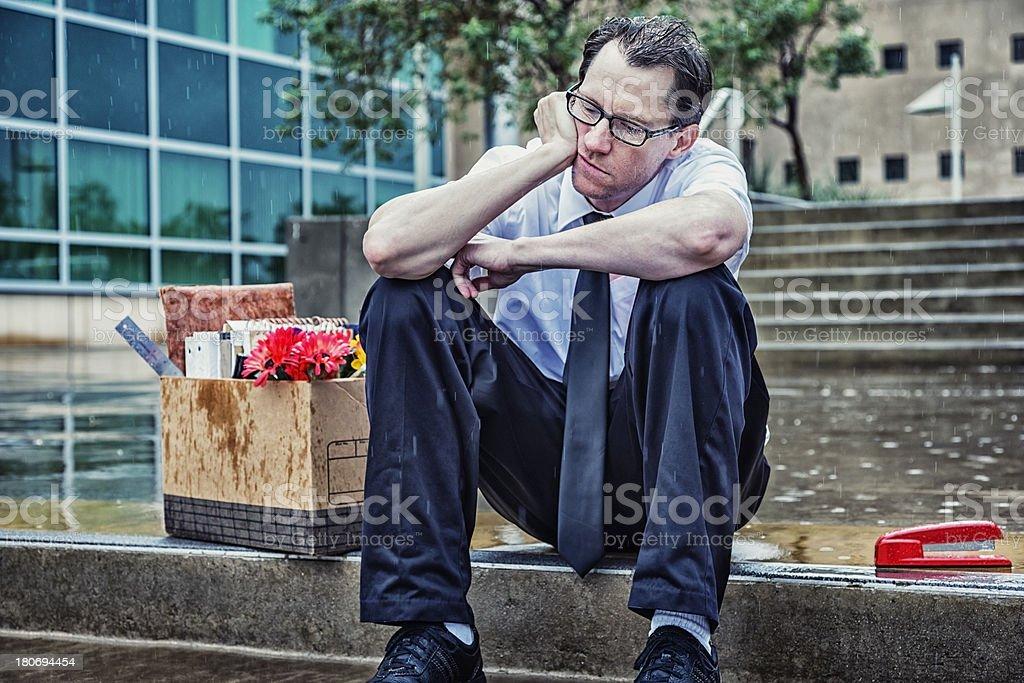 Laid Off: Unemployed Businessman royalty-free stock photo