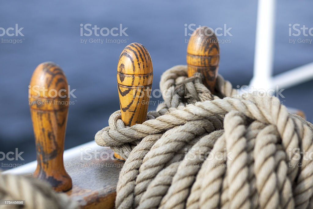 Laid ropes on a sailing vessel stock photo