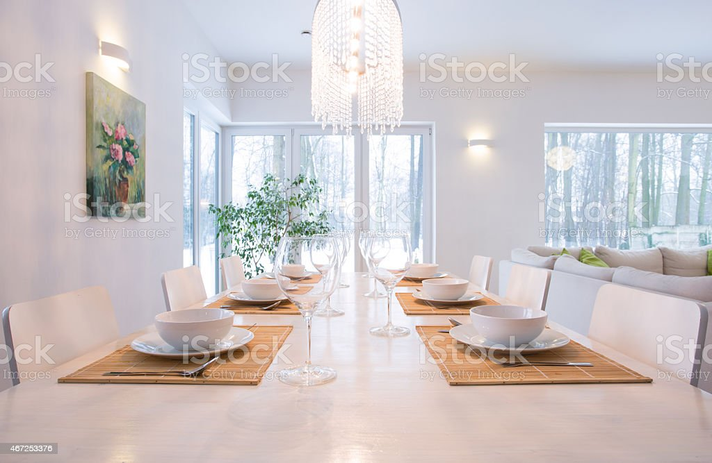 Close-up of laid table in dining room