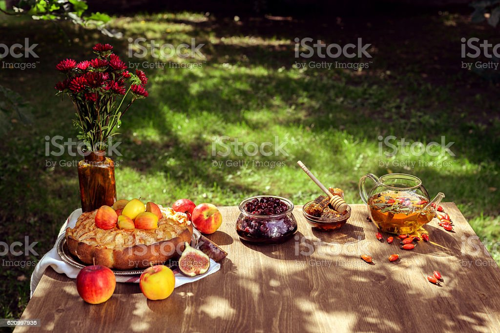 Laid table outdoors stock photo