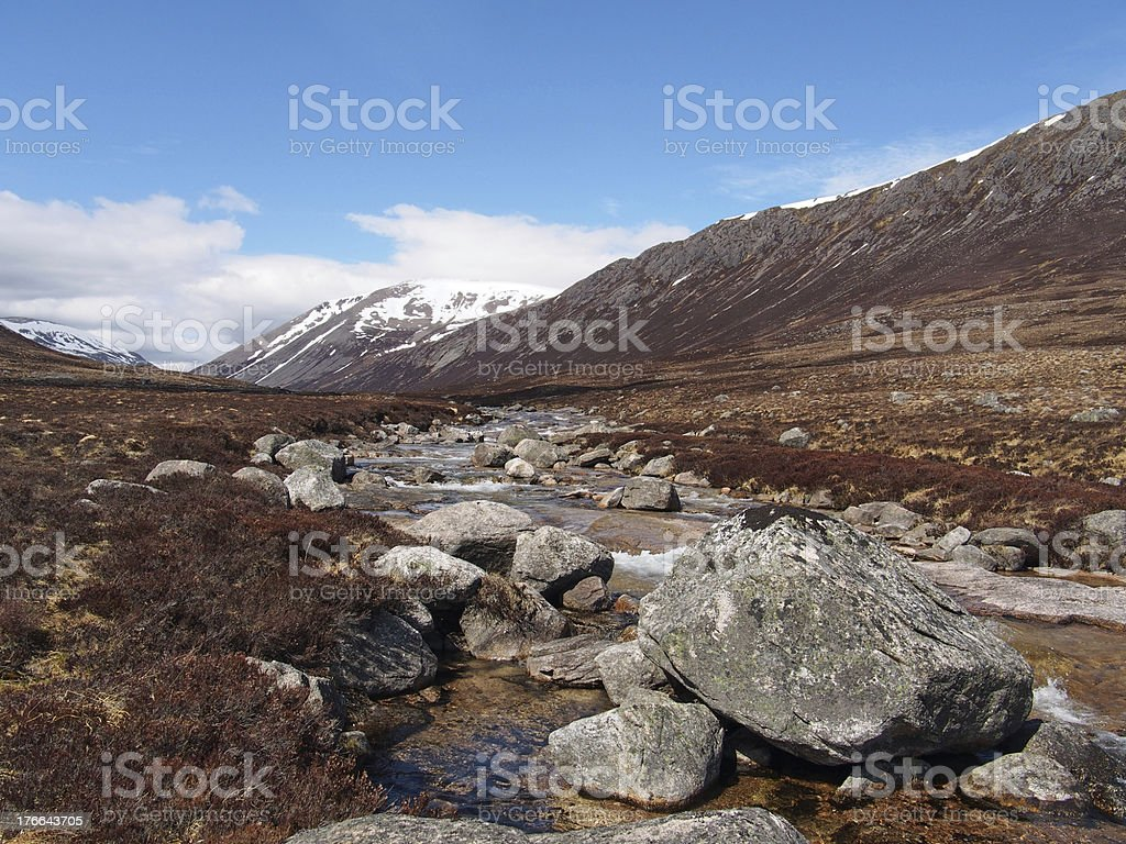 Lairig Ghru seen from river Dee, Scotland in spring stock photo