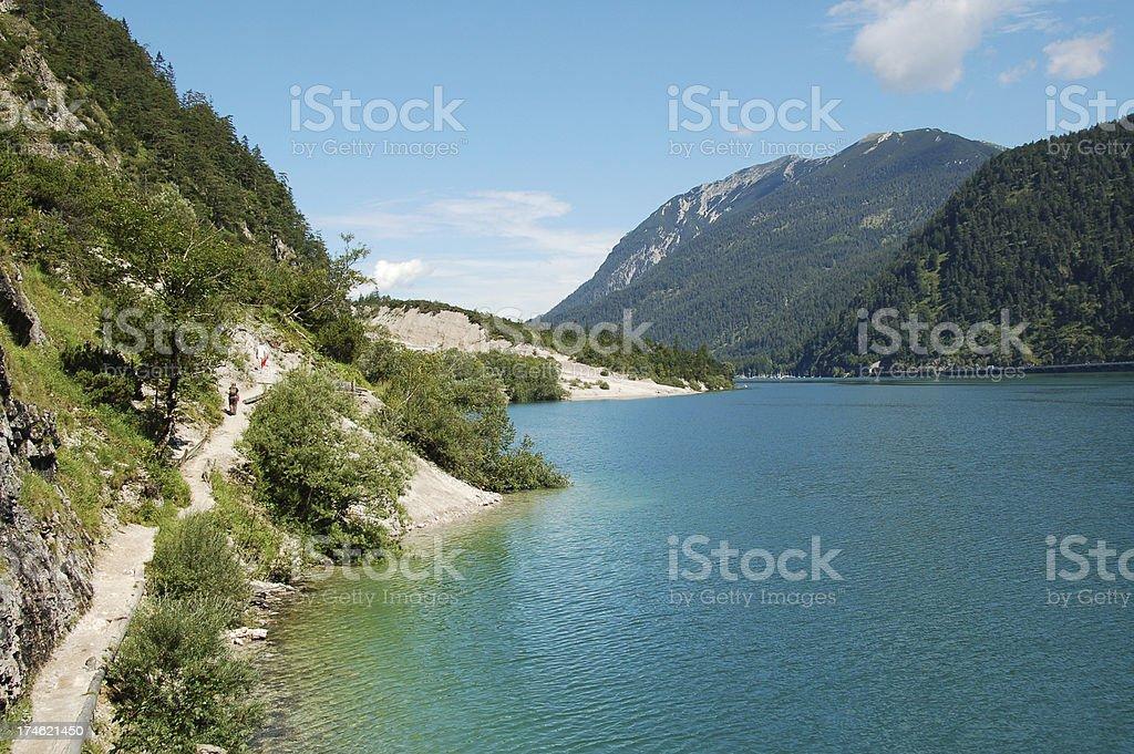 Lake Achensee with Lakeside Walk royalty-free stock photo