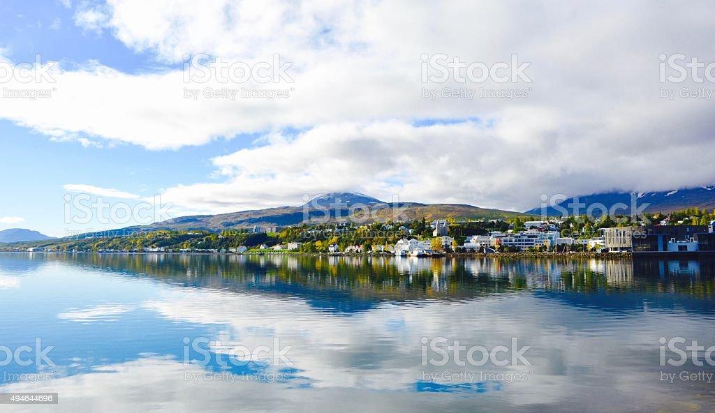 Lake Akureyri stock photo