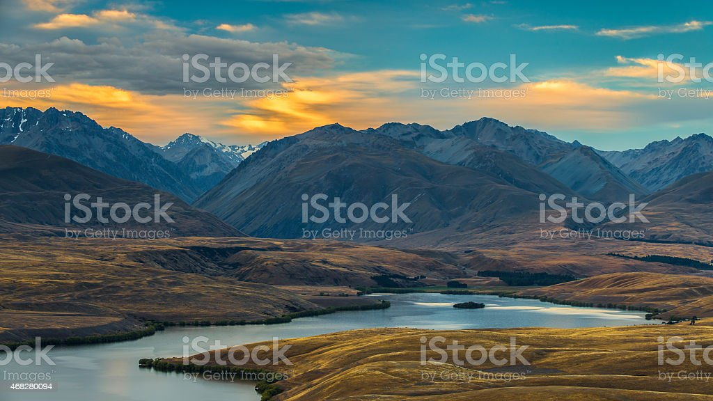 Lake Alexandrina Sunset stock photo