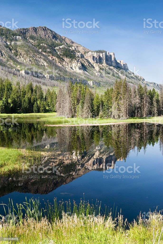 Lake along Chief Joseph Scenic Byway stock photo