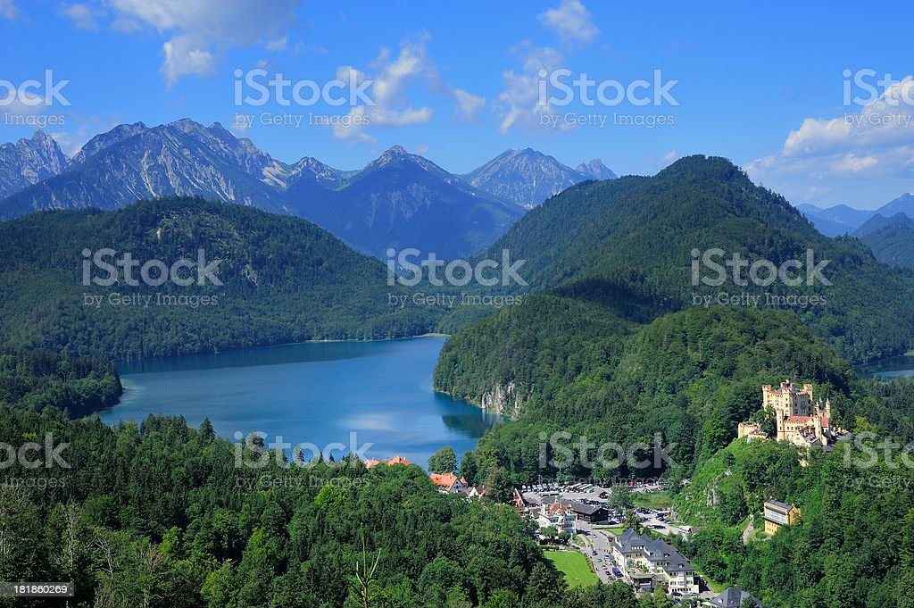 Lake Alpsee and Hohenschwangau Castle stock photo