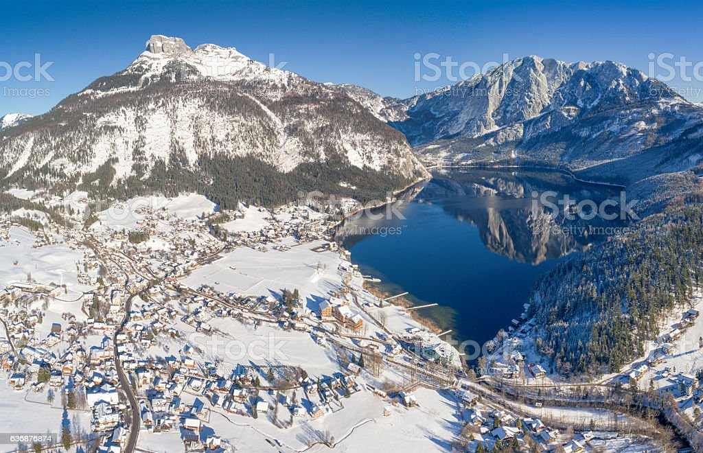 Lake Altausee with Mountains Loser and Trisselwand, Winter Panorama, Austria stock photo