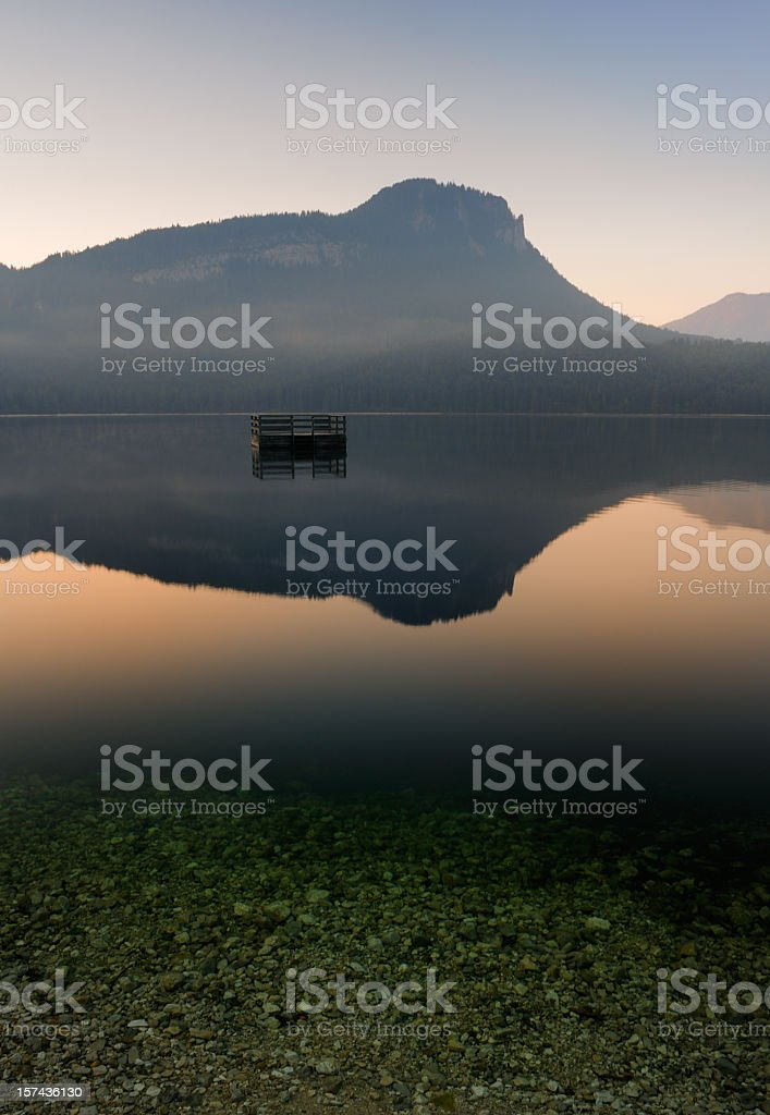 Lake Altaussee at Dawn, Austrian Alps Nature Reserve Vertical Panorama stock photo