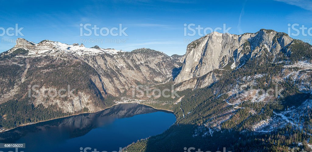 Lake Altaussee Panorama with Mountains Loser and Trisselwand, Ausseerland, Salzkammergut stock photo