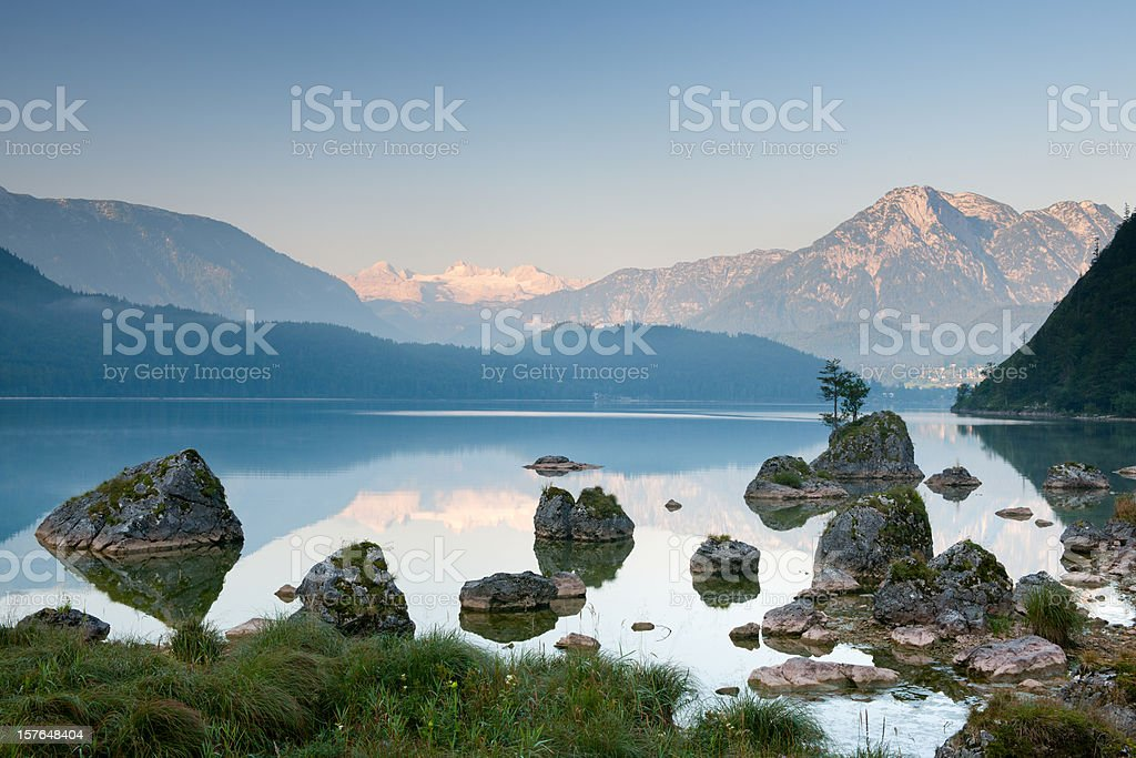 Lake Altaussee with Glacier Dachstein, Austrian Alps Nature Reserve Panorama stock photo