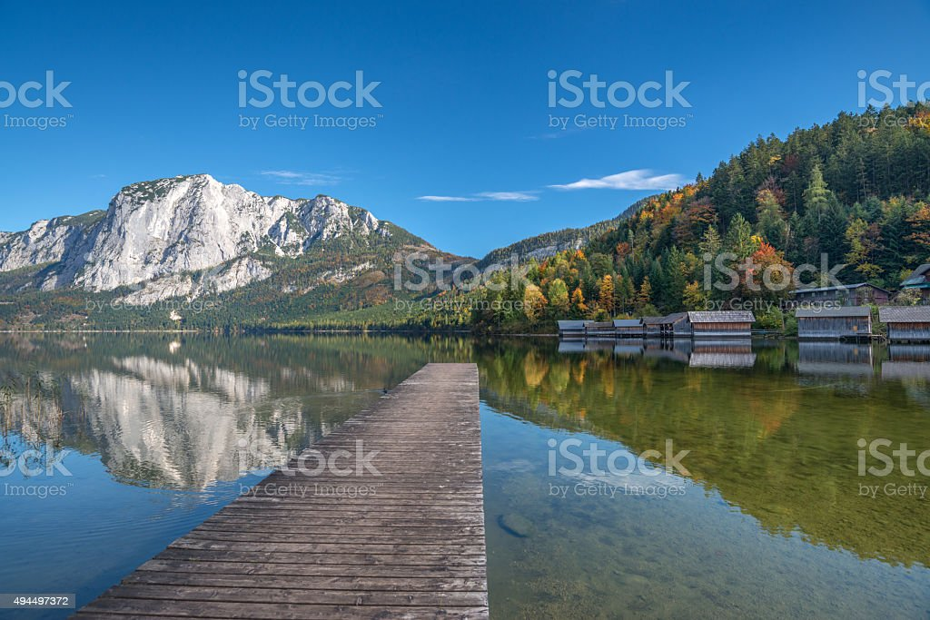 Lake Altaussee with Mountain Trisselwand, Austria stock photo