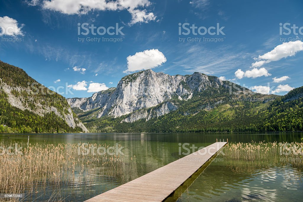 Lake Altaussee with Mountain Trisselwand, Austrian Alps stock photo