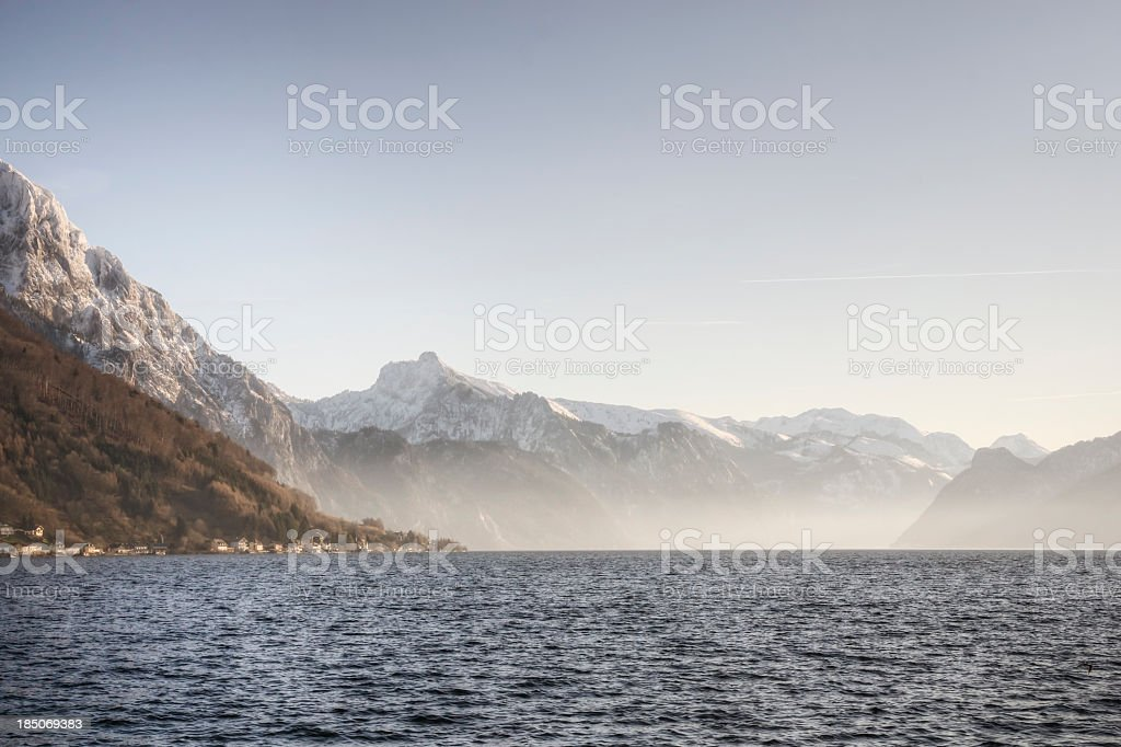 Lake and Alps Scenic in Salzkammergut stock photo