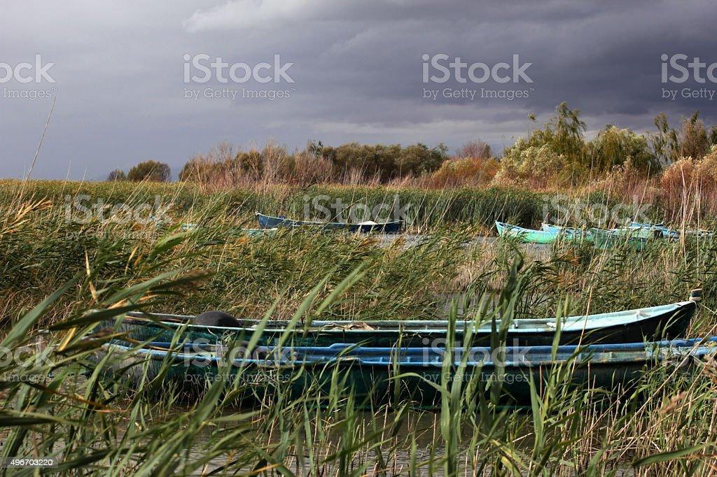lake and boats stock photo