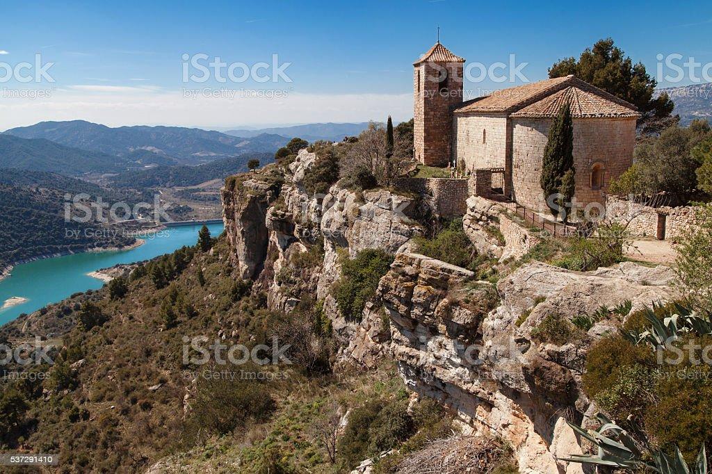 Lake and Church of Siurana stock photo