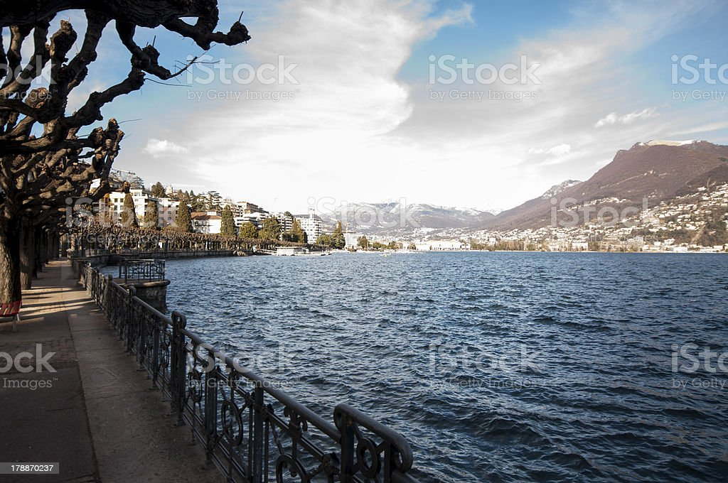 Lake and city royalty-free stock photo