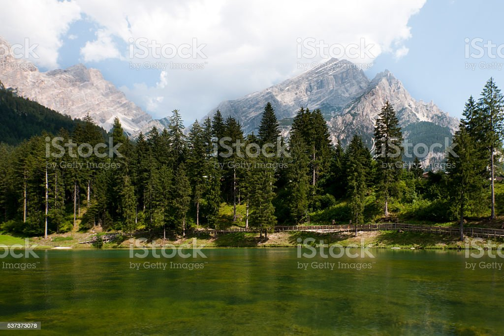 Lake and Dolomites - Italy stock photo