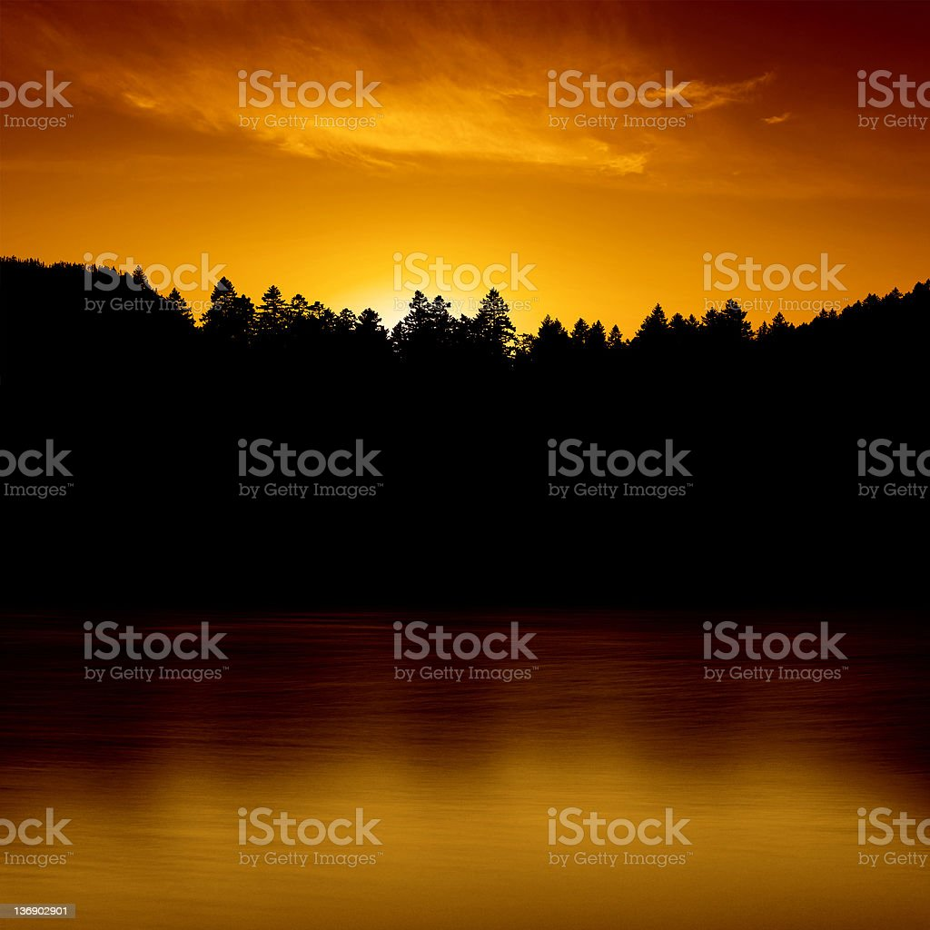 XXL lake and forest sunset royalty-free stock photo