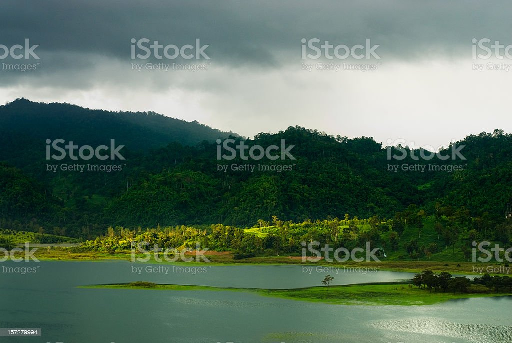 Lake and Forests in Kanchanaburi Province royalty-free stock photo