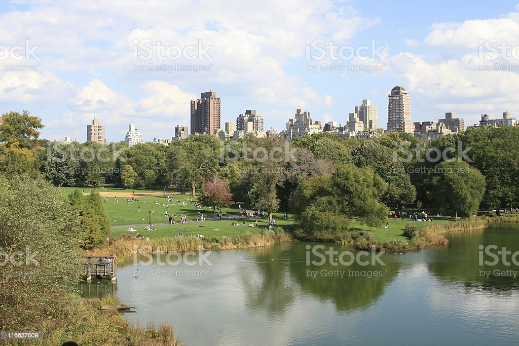 Lake and Great Lawn, Central Park, Manhattan. royalty-free stock photo