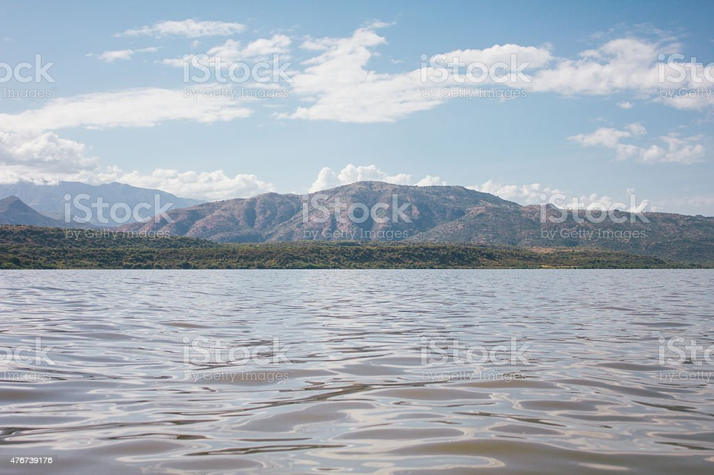 Lake and mountain in Arba Minch, Ethiopia stock photo